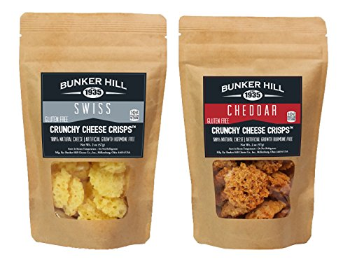 Bunker Hill Crunchy Cheese Crisps 100% Cheese High Protein, Gluten Free, Low Carb, Keto Snacks, Keto Chips 2 Ounce Bag (Swiss and Cheddar, 2 Pack)