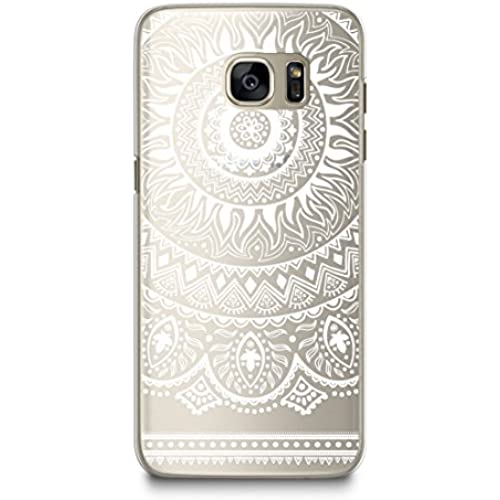 Case for Samsung S7, CasesByLorraine White Mandala Pattern Transparent Case Clear Hard Plastic Cover for Samsung Sales