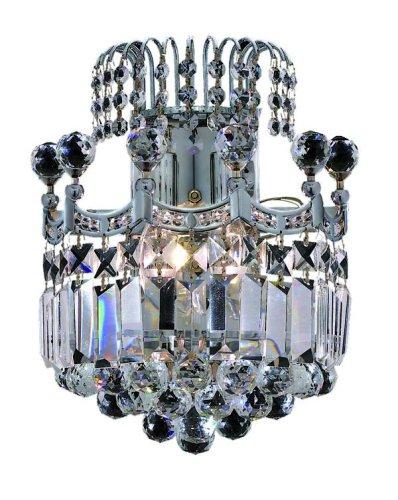 Elegant Lighting 8949W12C/RC Corona 12-Inch High 2-Light Wall Sconce, Chrome Finish with Crystal (Clear) Royal Cut RC Crystal
