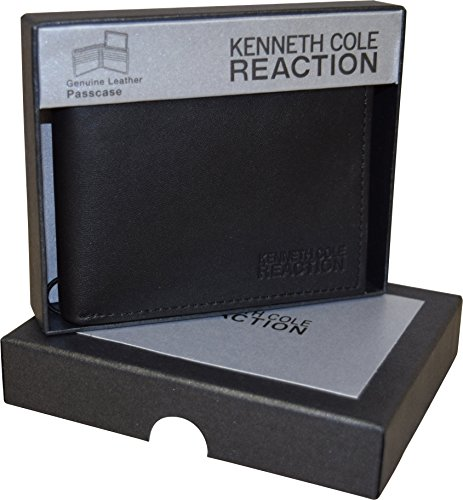 Kenneth Cole Reaction Men's Genuine Leather Passcase Wallet With Gift Box (Black Smooth)
