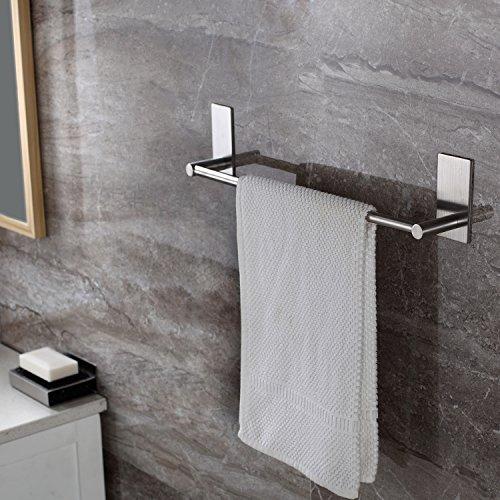 304 Stainless Steel Self Adhesive Hook Bathroom Kitchen Towel Hanger Style 4 - 4
