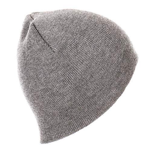 RufnTop Short Plain Knit Beanie Slouchy Cuff Toboggan Daily Hat Soft Unisex Solid Skull Cap(Light Grey One Size)