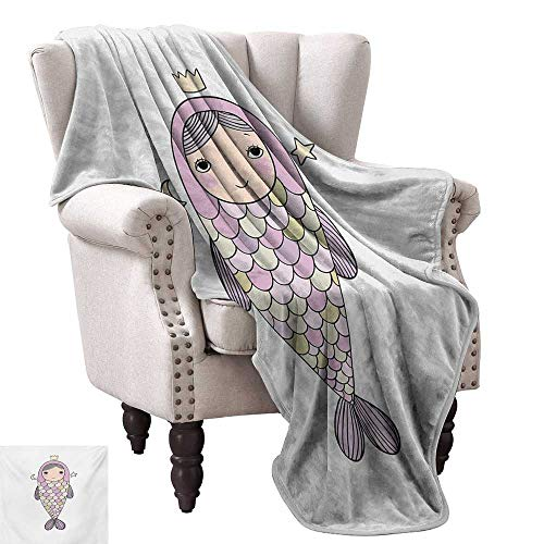 Anyangeight Weave Pattern Extra Long Blanket,Fantasy Sea Life Mythological Character Girl in Fish Costume with Crown Moon Stars 70