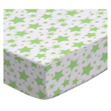 SheetWorld Fitted Oval (Stokke Mini) - Green Stars - Made In USA - 58.4 cm x 73.7 cm ( 23 inches x 29 inches)