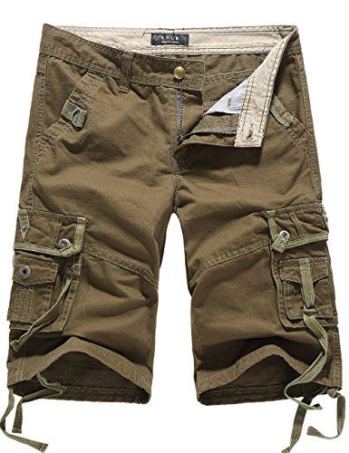SSLR Men's Cotton Flat Front Army Cargo Shorts (38, Army Green)