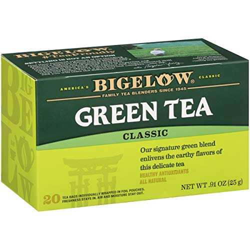 Bigelow Green Tea Caffeinated Individual Green Tea Bags, for Hot Tea or Iced Tea, 20 Count (Pack of 6), 120 Tea Bags Total. (Best Friend Break Up Care Package)