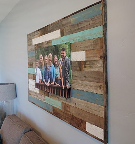 Barnwood Reclaimed Wood Decorative Wall Art Panel 45'' X 33'' Choice of Accent Colors