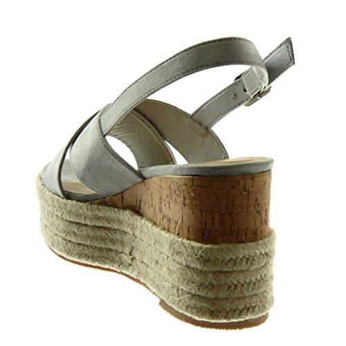 Angkorly Zapatillas Moda Sandalias Mules Correa de Tobillo Plataforma Mujer Cuerda Trenzado Tanga Plataforma 9.5 cm Gris claro