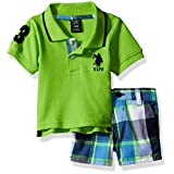 U.S. Polo Assn. Baby Boys' Polo and Short, Multi Plaid, 6/9 Months