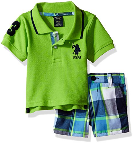 U.S. Polo Assn. Baby Boys Short, Multi Plaid, 3/6M
