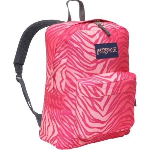 JANSPORT SUPERBREAK BACKPACK SCHOOL BAG – Pink /Coral Flashback Zebra, Bags Central