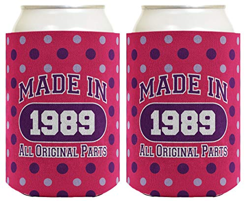 30th Birthday Gift Coolie Made 1989 Can Coolies 2 Pack Can Coolie Drink Coolers Coolies Polka -