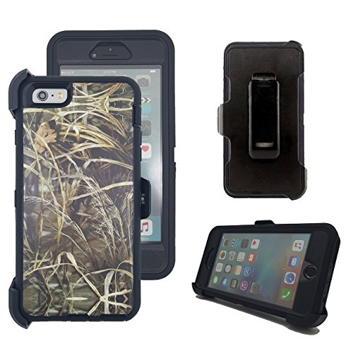iPhone 6s Plus Case, Harsel Defender Series Heavy Duty Tree Camouflage Impact Tough Armor Hybrid Military w/ Belt Clip Screen Protector Case Cover for iPhone 6s Plus / iPhone 6 Plus (Grass Black)