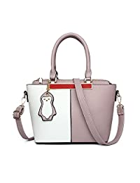 H.Tavel Womens's Fashion Lovely Splicing Color Leather Handbags Shoulder Bag Messenger Satchel With Penguin Pendant Small Size