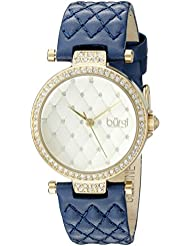 Burgi Womens BUR154BU Yellow Gold Quartz Watch with Swarovski Crystal Accents and Gold Dial With Blue Quilted...