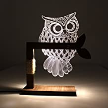 Home 3D Owl Shape LED Desk Table Light Lamp Night Light US Plug (White) (Owl)