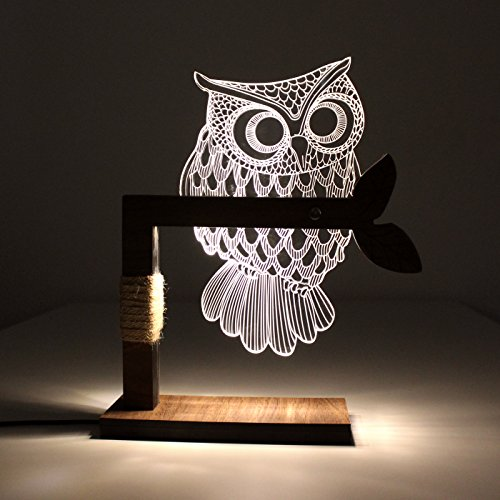 CozyWow Home 3D Owl Shape LED Desk Table Lamp Night Light US Plug ( Warm White)