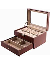 Brown Watch Box Faux Leather Jewelry Case Watch Display Oraganizer Glass Top Lockable UJWB007