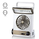 Qjoy 3 in 1 Multi-functional Solar Cooling Table Fans with LED Table Lamp Flashlight Torch for Home Camping Outdoor