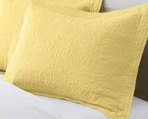 CuteLife Elegant Cotton Bedroom Pillow Sham - Flowers Washed Embroided - Yellow - 20