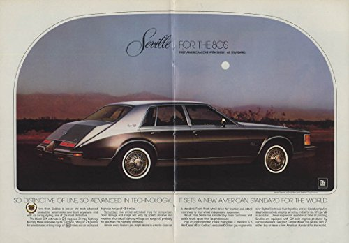 (1st American Car with diesel standard Cadillac Seville ad 1980 NY)