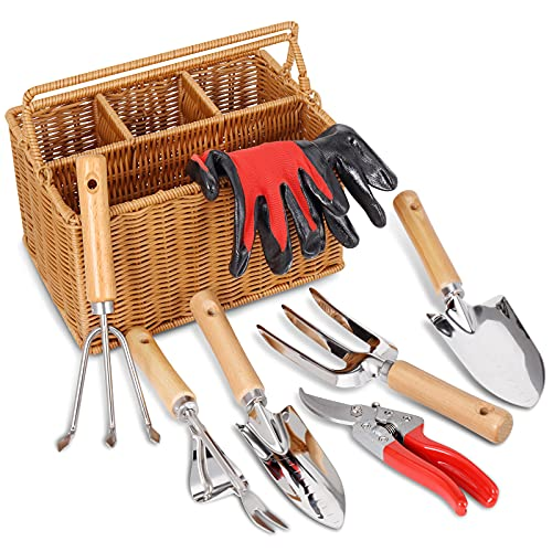 SOLIGT 8 Piece Garden Tool Set with Basket, Stainless Steel Extra Heavy Duty Gardening Hand Tools Kit with Wood Handle…