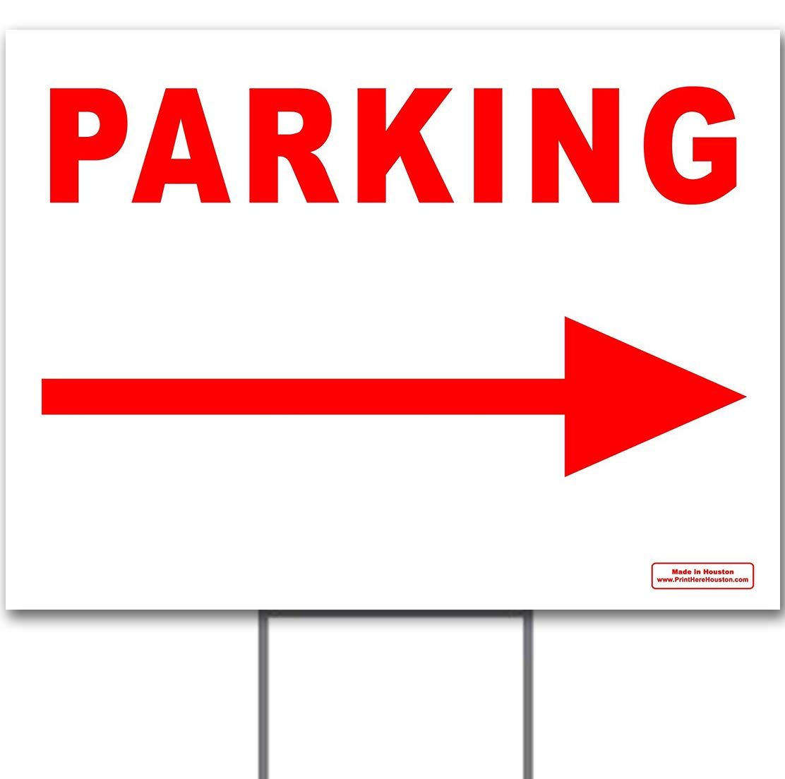 Red 24'' x 18'' Parking Directional Left OR Right Arrow Sign with Metal Stake