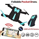 Jaanly Folding RC RTF WIFI FPV Mini Quadcopter 2.4Ghz 6-Axis Gyro Selfie Pocket Drone Altitude Hold Helicopter 360 Degree Airselfie UAV R/C Aircraft with 2MP HD Camera 720P Real Time FPV Black