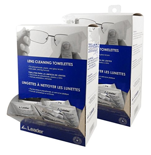 Lens Clean Towelettes - Leader Lens FCDB Cleaning Towelette Dispenser (Pack of 100) 2 Pack