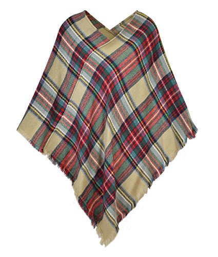 Le Nom Classic Plaid Check Pattern Poncho (Beige) (Poncho Plaid)