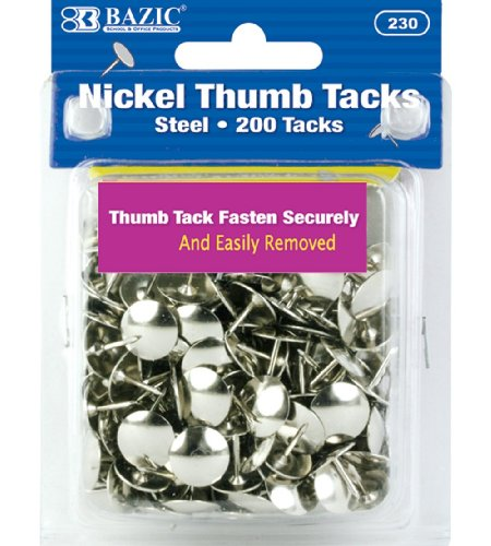 BAZIC Nickel (Silver) Thumb Tack (200/Pack) (Case of 24)