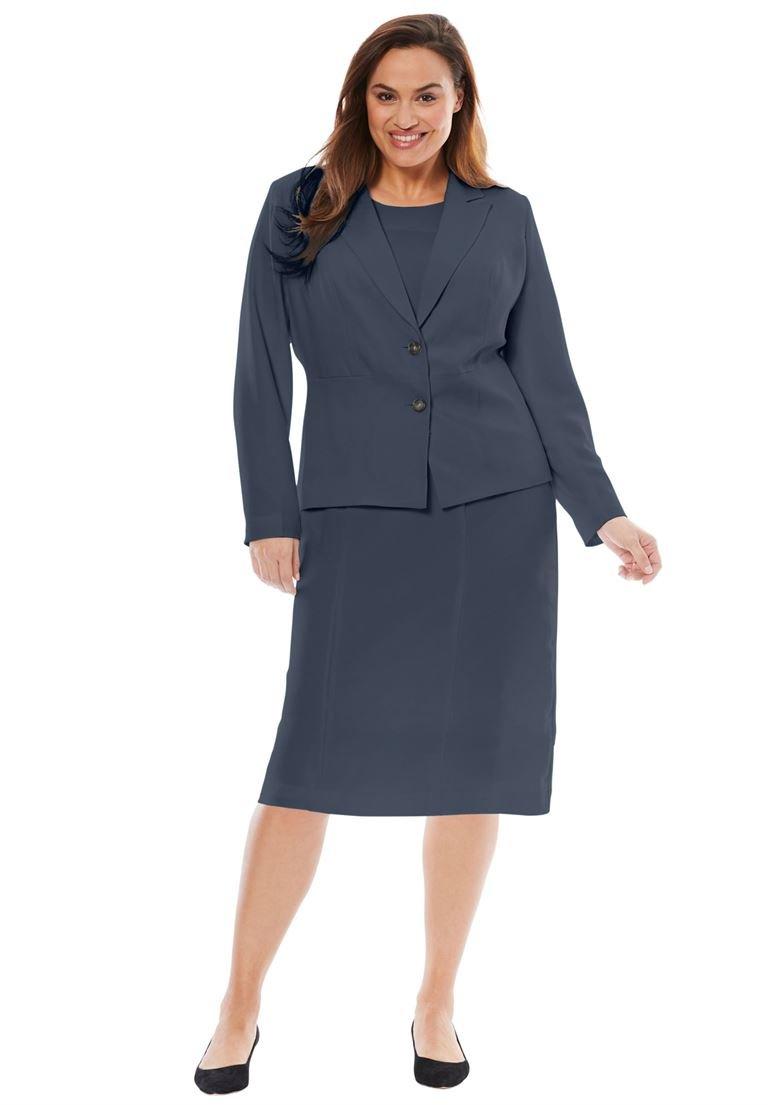 Jessica London Women's Plus Size Single Breasted Jacket Dress Navy,24 W