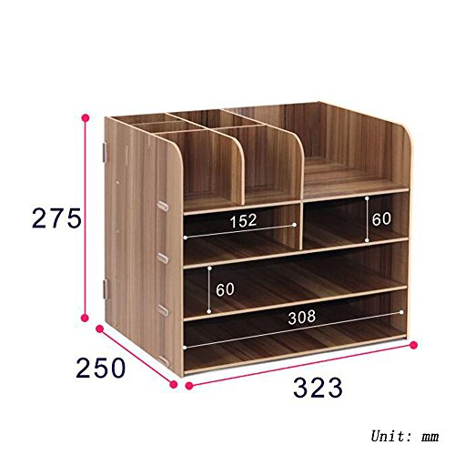 Bookcase Office Supplies Desktop Organizer File Organizer Storage Rack Storage Box,WoodColor by ANHPI-bookcase (Image #1)