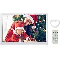 Andoer cadre numérique 15,6 pouces, cadre photo numérique avec haute résolution 1280*800, comme MP3 MP4 Réveil avec télécommande (Blanc)