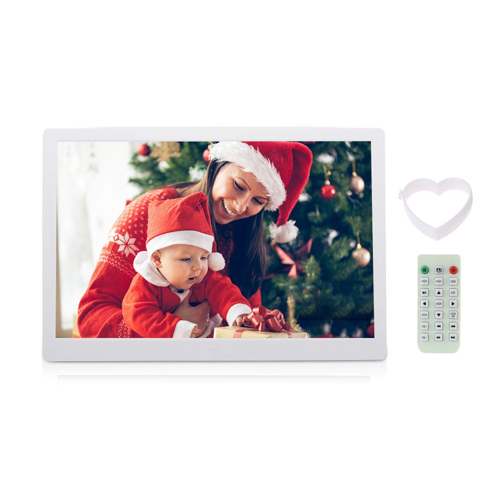 Andoer 15.6' LED Digital Photo Picture Frame High Resolution 1280*800 Advertising Machine Alarm Clock MP3 MP4 Movie Player with Remote Control for for Birthday Gift
