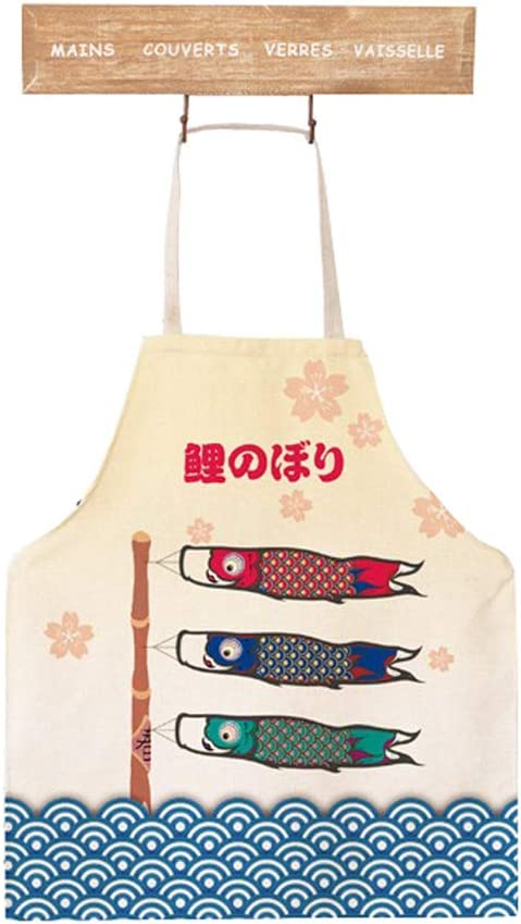 Cute Cartoon Apron Japanese Style Lovely Fish Pattern Apron For Kids Teen Apron