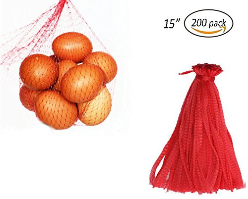 CUGBO 200pcs 15 Mesh Produce Bag Reusable Net Bag Nylon Toys Fruits Vegetables Drawstring Storage Poly Bags With Rope