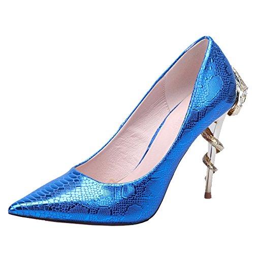Fereshte Femmes Serpent Grain Pointu Orteils Hauts Talons Chaussures De Soirée Bleu