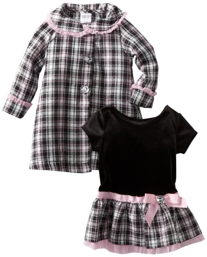 Youngland Baby Girls' Black White Plaid Coat Set