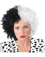 Cruella Deville Wig Black and White Frizz De Vil Wig for Kids or Adults