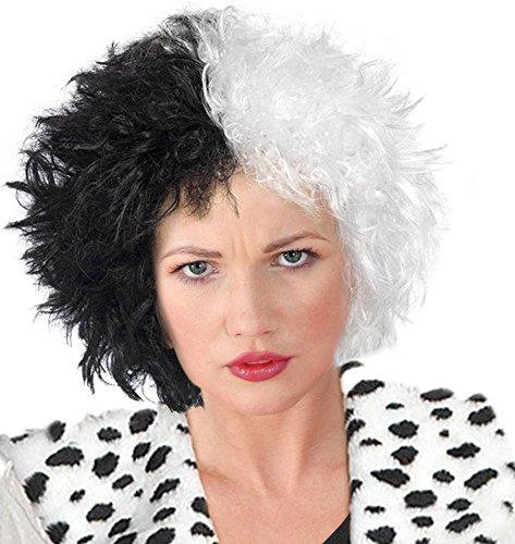 [Cruella Deville Wig Cruella De Vil Wig Cruella De Vil Costume Cruella De Vil Wig] (Cruella De Vil Costume Wig)