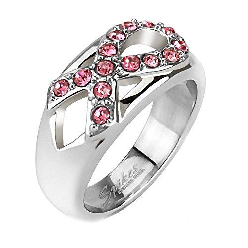 (Rosalie: 0.42ct Simulated Pink Sapphire Awareness Ribbon Fashion Ring 316 Steel, 3263B sz 6.0)