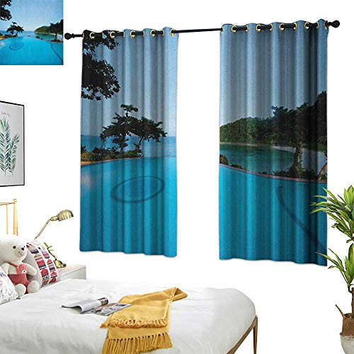 (Warm Family Double Curtain Rod Landscape,Pool View at Sunset Beach in Seacoast Ocean Vibrant Colors Adventure Photo, Turquoise Green 54