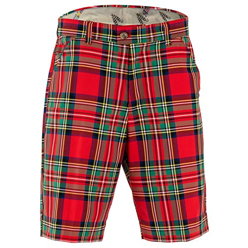 Royal & Awesome Stewart Tartan Mens Golf Shorts - 32