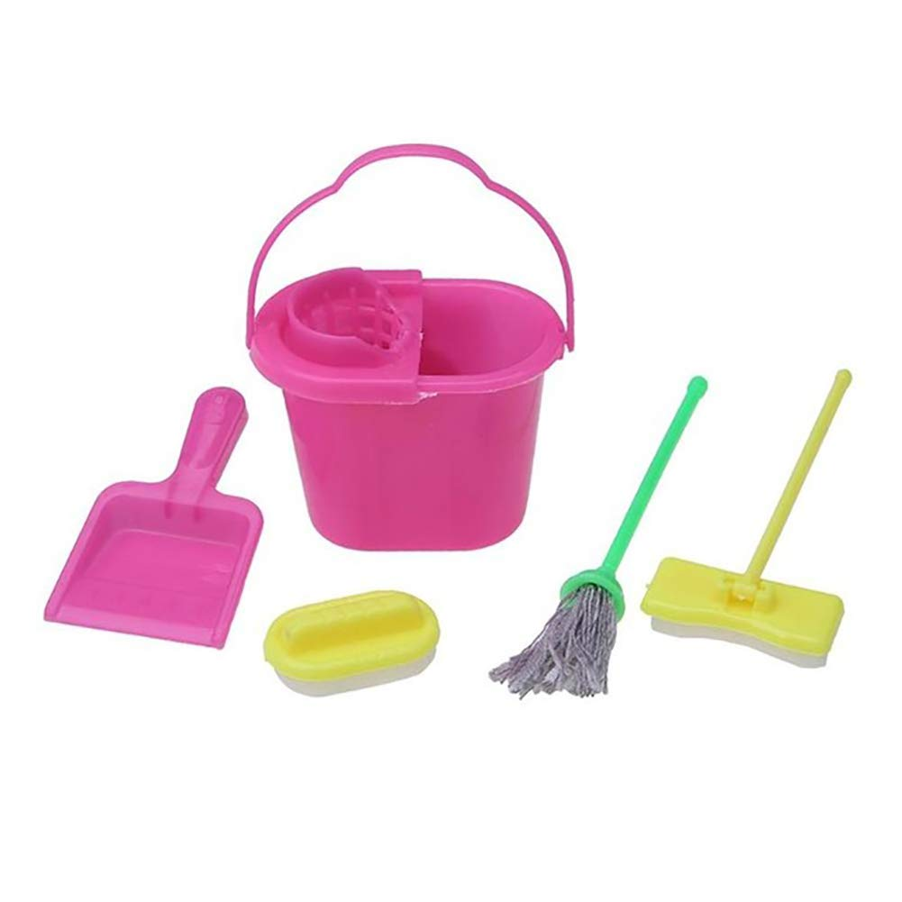 5Pcs Doll Cleaning Tools Kids Play House Cleaning Mop Broom Bucket Brush Dustpan Set Pretend Toy Doll House Cleaner Barbie Accessory Hilai