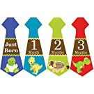Belly Doodles 16 Monthly Baby Stickers Boys Necktie Dinosaurs 6.6x2.5inch (1-12 Months)