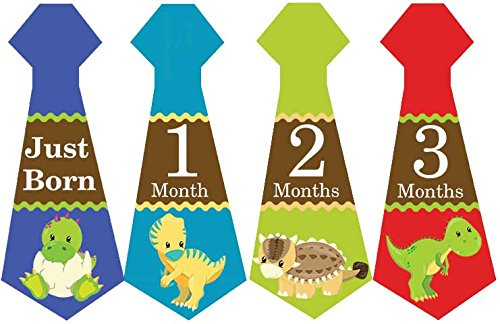 Belly Doodles 16 Necktie Month Stickers Dinosaurs 6.6x2.5inch (1-12 Months)