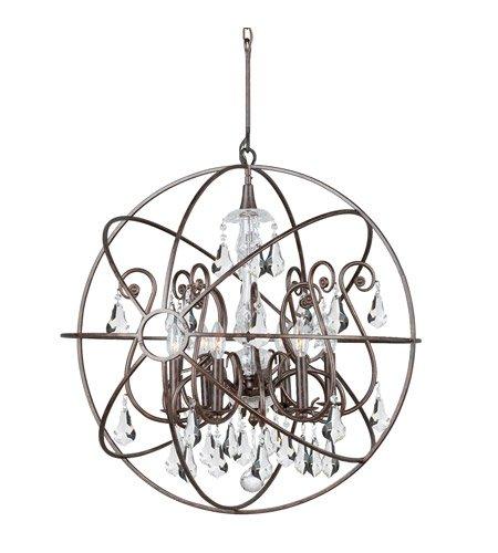 - Chandeliers 6 Light With English Bronze Clear Swarovski Strass Wrought Iron 28 inch 360 Watts - World of Lighting
