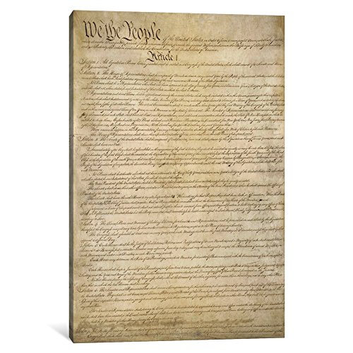 iCanvasART 1-Piece The Constitution Document Canvas Print by Unknown Artist, 0.75 by 26 by 18-Inch