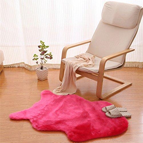 Yazi Kunstfell Teppich Schaffell Uni Weich, waschbar, rutschfeste Matten Teppich Hot Pink 75x 106cm